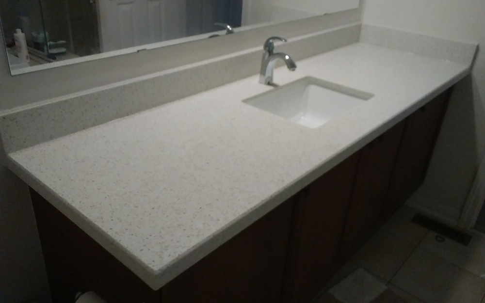 Master ensuite new quartz counter top